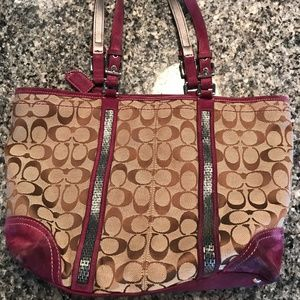 Coach Canvas Tote with Sequins